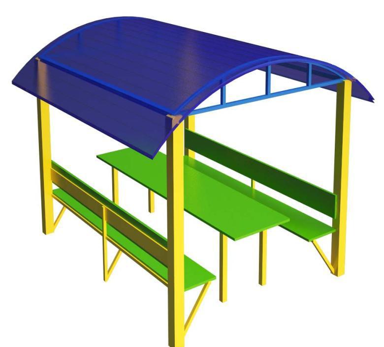 Стол с навесом (цветной поликарбонат) СТ16