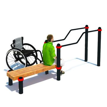 Брусья двухуровневые со скамьей для инвалидов-колясочников Sd13